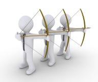 Three businessmen aiming at same target. Three 3d businessmen as archers are aiming at same target Stock Image