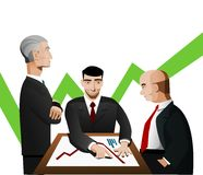 Three businessmen discussing diagram Stock Photos