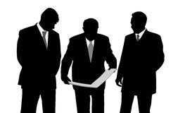 Three businessmen engineers or architects looking  Stock Photo