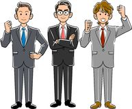 Three businessmen with high motivation _ superior and subordinate. royalty free illustration
