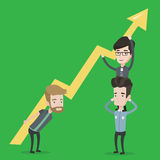 Three businessmen holding arrow going up. Royalty Free Stock Images
