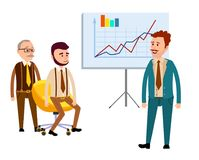 Three Businessmen in Office with Diagrams Flat. Three businessmen in office with diagrams  on white. Man in blue business suit standing near placard with charts Royalty Free Stock Image