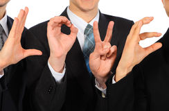 Three businessmen`s hands show  word love Royalty Free Stock Image