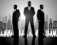 Three businessmen silhouettes Stock Photos
