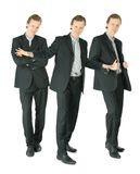 Three businessmen standing on white, collage Royalty Free Stock Images