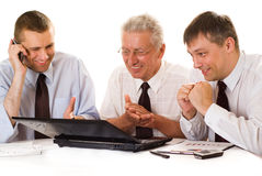 Three businessmen working stock image