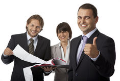 Three businesspeople thumb up. Three happy businesspeople isolated on white, thumb up Stock Image