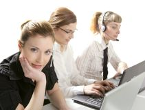 Three businesswoman helpdesk isolated on white Stock Photography