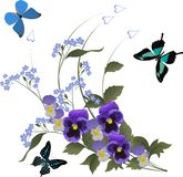 Three butterflies and blue flower bouquet Royalty Free Stock Image
