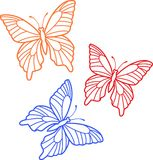 THREE BUTTERFLY OUTLINES Stock Photography