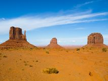 Three Buttes of Monument Valley Royalty Free Stock Photos