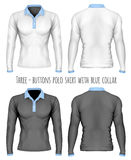 Three-button placket polo collar shirt. Long-sleeve variant of polo-shirt. Vector illustration. Fully editable handmade mesh Royalty Free Stock Images