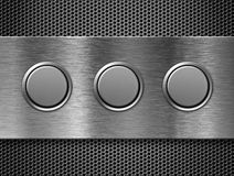 Three buttons metal toolbar Royalty Free Stock Photography