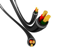 Three cables. Three power cables on white background vector illustration