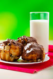 Three cake,milk Stock Photography