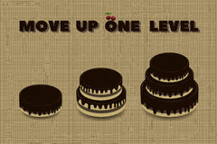 Three cakes different heights and motivating inscription. Vector illustration Royalty Free Stock Image