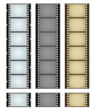 Three camera filmstrips. Vector illustration of three simple filmstrips: blue, gray and aged and textured brown Stock Image