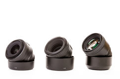 Three camera lenses Royalty Free Stock Photo