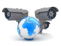 Three cameras and earth globe Royalty Free Stock Photo