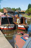 Three canal boats Stock Images