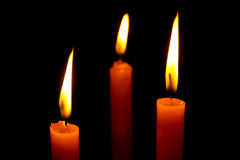 The three Candle. The Candle in the dark royalty free stock images