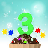 Three Candle On Cupcake Shows Toddler Birthday Royalty Free Stock Image