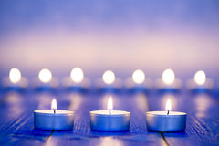 Three candle lights in row Royalty Free Stock Photos