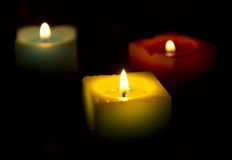 Three candles Stock Photo