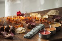 Three candles, autumn leaves and acorns of northern red oak Stock Photography