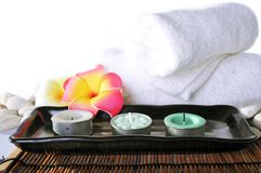 Three candles in ceramic bowl Royalty Free Stock Photo