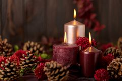 Three candles of crimson and pink color on a dark background wit. H cones, leaves and daisies. Selective focus Stock Photos