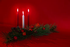 Three Candles Holiday Decoration Royalty Free Stock Photos