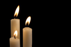 Three  candles isolated Royalty Free Stock Photos