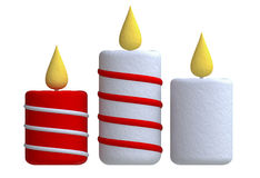 Three candles in plasticine or clay style Stock Photo