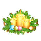 Three candles stand on fir tree branches. Christmas glossy element on white Stock Photo