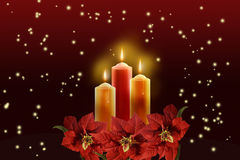 Three candles surrounded a red poinsettias. Stock Photography