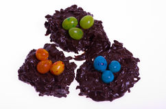 Three candy bird nests with jelly beans Stock Photos
