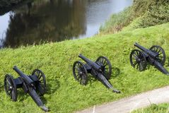 Three cannons waiting Royalty Free Stock Photos