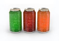 Three cans of colored carbonated drinks. Three cans of colored carbonated drinks isolated on white background. 3d rendering Stock Photography