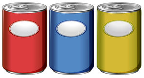 Three cans with different color labels Stock Photos