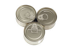 Three cans isolated on white background Stock Photography