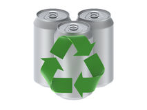 Three cans isolated on a white background with rec. Three blank rendered cans placed one white background with green recycle logo in front vector illustration