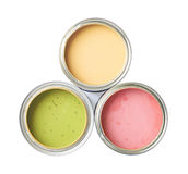 Three cans of paint isolated Royalty Free Stock Photos