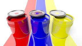 Three cans with red,blue and yellow Royalty Free Stock Images