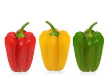 Three capsicums. Isolated on white background Royalty Free Stock Photos