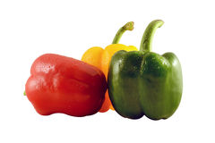 Three capsicums isolated on white background Stock Image