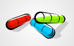 Three Capsule Pill Royalty Free Stock Images