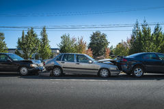 Three-car accident Stock Image