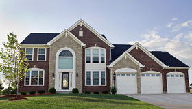 Three Car Garage Luxury Home Stock Images
