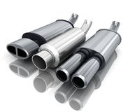 Three car-pipe. Exhaust-pipe on  background (done in 3d Royalty Free Stock Images